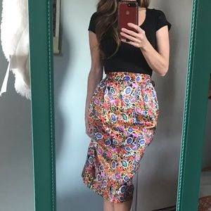 {True Vintage} 80s bling silk pencil skirt sz S
